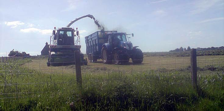 Claas Jaguar harvester and 7000 series New Holland