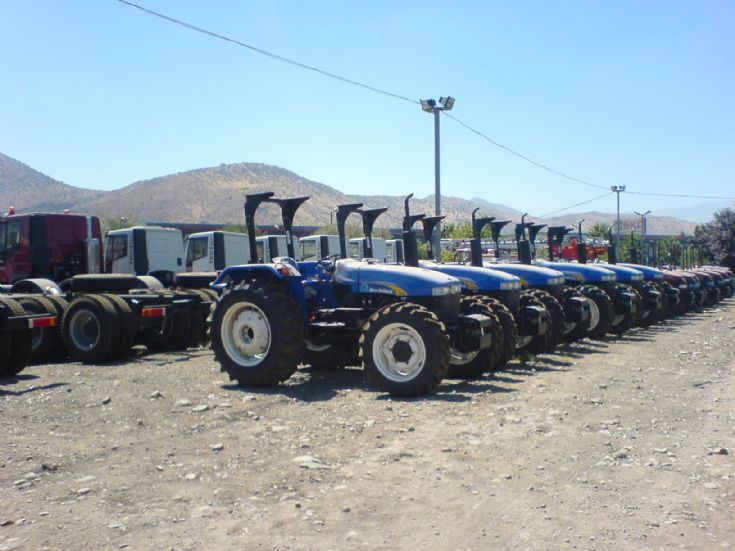 New Holland Tractors waiting to be sold.